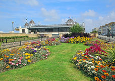 Herne bay seafront and bandstand. Photo of idyllic herne bay seafront and victorian bandstand with pretty flowers and border plants royalty free stock image
