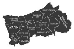 Herne miasta mapa Niemcy DE przylepiał etykietkę czarną ilustrację Obraz Royalty Free