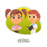 Hernia medical concept. Vector illustration. Doctor and patient are talking in the hospital. Isolated on white background Royalty Free Stock Image