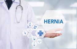 HERNIA Medical Report with Composition of Medicaments - Pills, I stock photography
