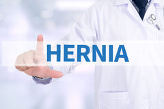 HERNIA. Medicine doctor working with computer interface as medical Stock Image