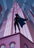 Heroína super na cidade ilustração royalty free