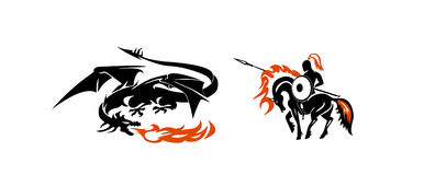 Hero. Fight, the dragon and rider, dragon and knight Stock Image
