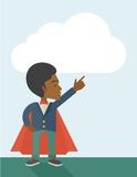 Hero african man pointing up high to the sky Royalty Free Stock Photo