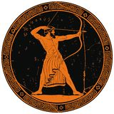 Ancient Greek warrior. The hero of the ancient Greek myths Odysseus. Warrior with a weapon on the round black medallion. Archer with a bow in his hands royalty free illustration