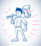 Hero with antivirus hammer sketch style. Smilling Hero stand with antivirus hammer in sketch style Royalty Free Stock Images