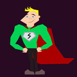 Hero. A blond, sharp super hero in his costume stock illustration