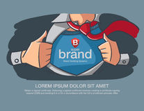 Hero Business supper brand message present on the chest. Royalty Free Stock Photo