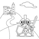 Hero and castle. Hero with sword and the castle coloring book Stock Photo