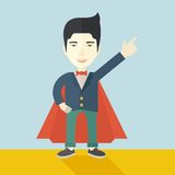 Hero Chinese Man Pointing Up High To The Sky Royalty Free Stock Photo