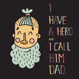 Hero dad first. Vector template of a card with a man head with beard and trendy hair cut and hand lettering text Stock Photography