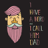 Hero dad five. Vector illustration of a man head with pink beard and green moustache and hand letering text Stock Photos