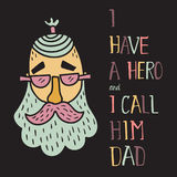 Hero dad four. Vector illustration of a funny man head and hand lettering text Stock Photography