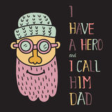 Hero dad three. Vector illustration of a happy man head in a cap with pink beard and hand lettering text Stock Photo
