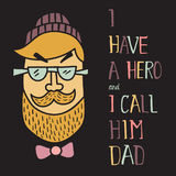 Hero dad two. Vector illustration of a modern man head and hand lettering text Stock Photography