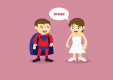 Hero and Damsel Vector Cartoon Illustration Royalty Free Stock Photography