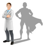 Hero Doctor. Concept, illustration of a confident handsome doctor standing with his arms folded with superhero shadow vector illustration