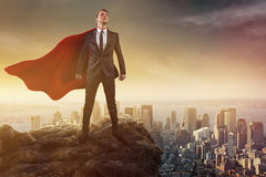 Hero. In front of a big City stock images