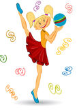 Hero girl character ball dance Royalty Free Stock Photography