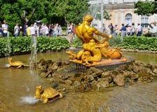 The hero of Greek mythology. 22.06.2013.Russia.Peterhof.The hero of Greek mythology, defeats a ferocious monster Stock Image