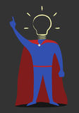 Hero with hand-drawn light bulb instead of head Stock Image