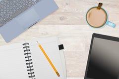 Hero Header image of tidy desktop with mug of coffee Stock Photo