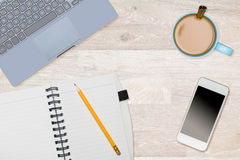 Hero Header image of tidy desktop with mug of coffee Stock Images