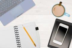 Hero Header image of tidy desktop with mug of coffee Stock Image