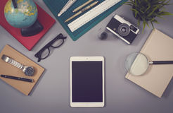 Hero header with tablet pc in vintage style. Hero header with tablet pc and different old items in vintage style Stock Photography