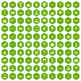 100 hero icons hexagon green. 100 hero icons set in green hexagon isolated vector illustration Royalty Free Illustration