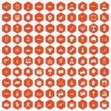 100 hero icons hexagon orange. 100 hero icons set in orange hexagon isolated vector illustration vector illustration