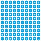 100 hero icons set blue. 100 hero icons set in blue hexagon isolated vector illustration Stock Illustration