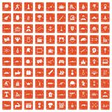 100 hero icons set grunge orange. 100 hero icons set in grunge style orange color isolated on white background vector illustration Stock Photo