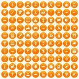 100 hero icons set orange. 100 hero icons set in orange circle isolated vector illustration Stock Photos