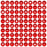 100 hero icons set red. 100 hero icons set in red circle isolated on white vectr illustration Stock Photography
