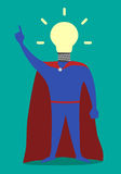 Hero with light bulb instead of head, insight Royalty Free Stock Images