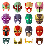 Hero mask characters vector flat icons Royalty Free Stock Images