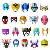 Hero mask vector superhero masque and masking face cartoon character illustration set of powerful masked symbol isolated. On white background vector illustration