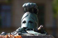 Hero's Helmet. The grave of a Finnish hero in Helsinki Royalty Free Stock Images