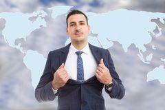 Hero-shot of broker in front of world map royalty free stock photos