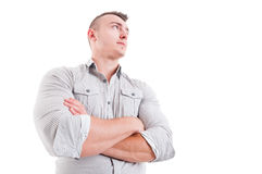 Hero shot in low angle of man or male model Royalty Free Stock Photography