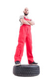 Hero shot low angle of proud and confident mechanic Royalty Free Stock Images