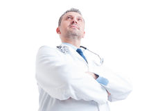 Hero shot in low angle of young doctor or medic royalty free stock images