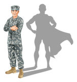 Hero soldier concept. A conceptual illustration of a military soldier standing with his shadow in the shape of a superhero Stock Images