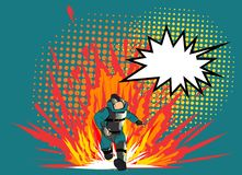 Pop art style comic art and halftone vector.Bomb Disposal Expert comic vector.pop art Man in EOD Suit with balloon. Hero soldier save the girl.Pop art style Stock Photo