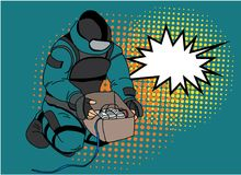 Pop art style comic art and halftone vector.Bomb Disposal Expert comic vector.pop art Man in EOD Suit with balloon. Hero soldier save the girl.Pop art style Stock Photography