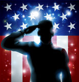 Hero Soldier and Stars and Stripes. Patriotic soldier or veteran saluting in front of an American flag background Stock Photos