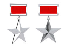 Hero of the Soviet Union Silver Star Awards. 3d Rendering. Hero of the Soviet Union Silver Star Awards on a white background. 3d Rendering stock illustration