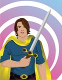 Hero with sword. Long haired Hero with sword and cape vector illustration