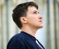Hero of Ukraine Nadiya Savchenko after liberation from Russian p Royalty Free Stock Image